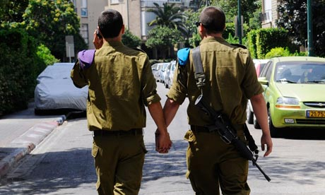 Soldiers holding hands to coincide with gay pride events in Tel Aviv