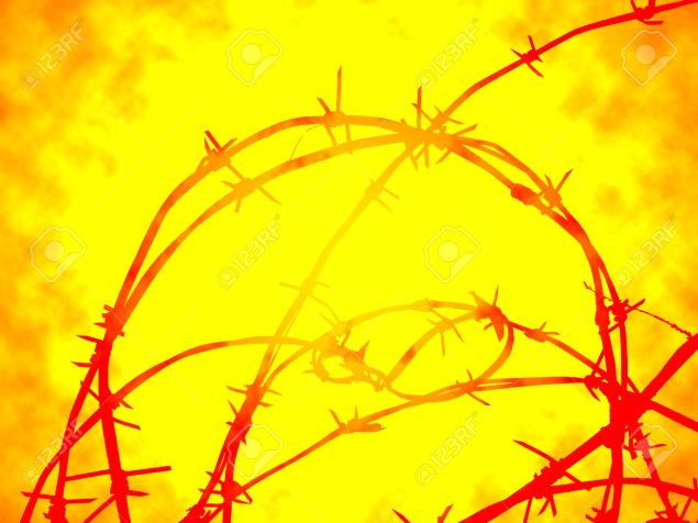 Barbed wire in hot flame