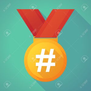 Long shadow gold medal with a hash tag