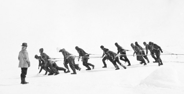 Hauling-a-boat-over-ice-The-Ernest-Shackleton-Exhibition-at-Manchester-Central-Library